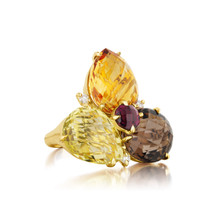 Cluster Orange Citrine Pear Ring