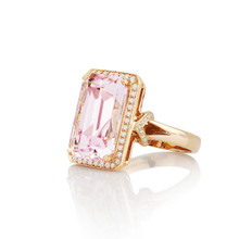 Morganite and Diamond Pave After Dark Ring