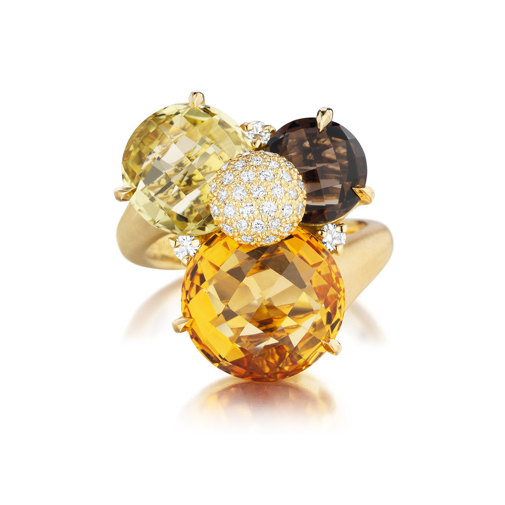 Orange Citrine and Diamond Cluster Ring