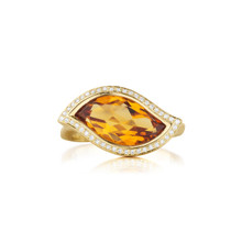 Leaf Orange Citrine East-West Ring