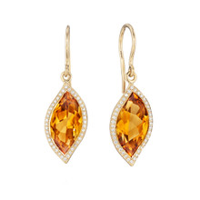 Leaf Orange Citrine and Pave Diamond Earrings