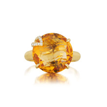 Orange Citrine and Diamond Pave Leaf Signature Ring