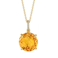 Orange Citrine and Diamond Pave Signature Pendant