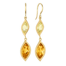 Leaf Orange Citrine and Lemon Quartz Double Drop Earrings