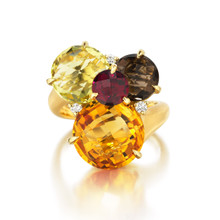Cluster Orange Citrine Ring