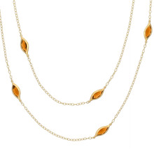 Long Leaf Orange Citrine Necklace