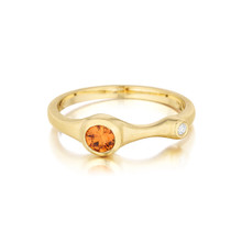 Orange Sapphire and Diamond Stack Ring