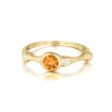 Orange Sapphire and Diamond Trio Stack Ring