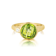 Peridot and Diamond Medium Stack Ring