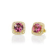 Carey Pink Tourmaline Cushion Earrings