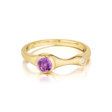 Purple Sapphire and Diamond Stack Ring
