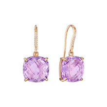 Rose de France And Diamond Pave Cushion Signature Earrings