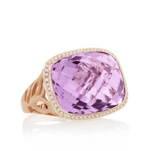 Rose de France and Diamond Pave East-West Bold Ring
