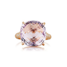 Rose de France Cushion And Diamond Signature Ring