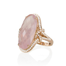 After Dark Rose Quartz Oval Ring