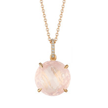 Rose Quartz and Diamond Pave Signature Pendant