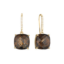 Smoky Quartz And Diamond Pave Cushion Signature Earrings