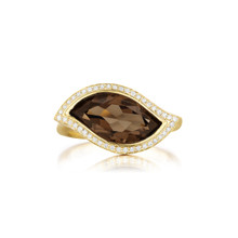 Leaf Smoky Quartz East-West Ring