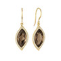 Leaf Smoky Quartz and Pave Diamond Earrings