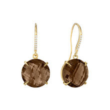 Smoky Quartz and Diamond Pave Signature Earrings