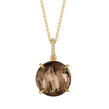 Smoky Quartz and Diamond Pave Signature Pendant