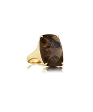 Smoky Quartz Jumbo Elongated Cushion Signature Ring
