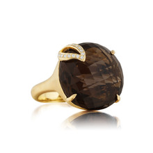 Smoky Quartz Single Leaf Large Signature Ring