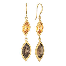 Leaf Smoky Quartz and Orange Citrine Double Drop Earrings