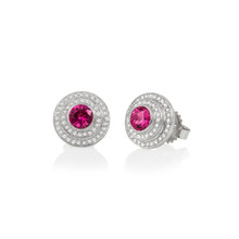 Mini Steps Red Spinel Earrings