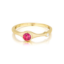 Red Spinel and Diamond Stack Ring