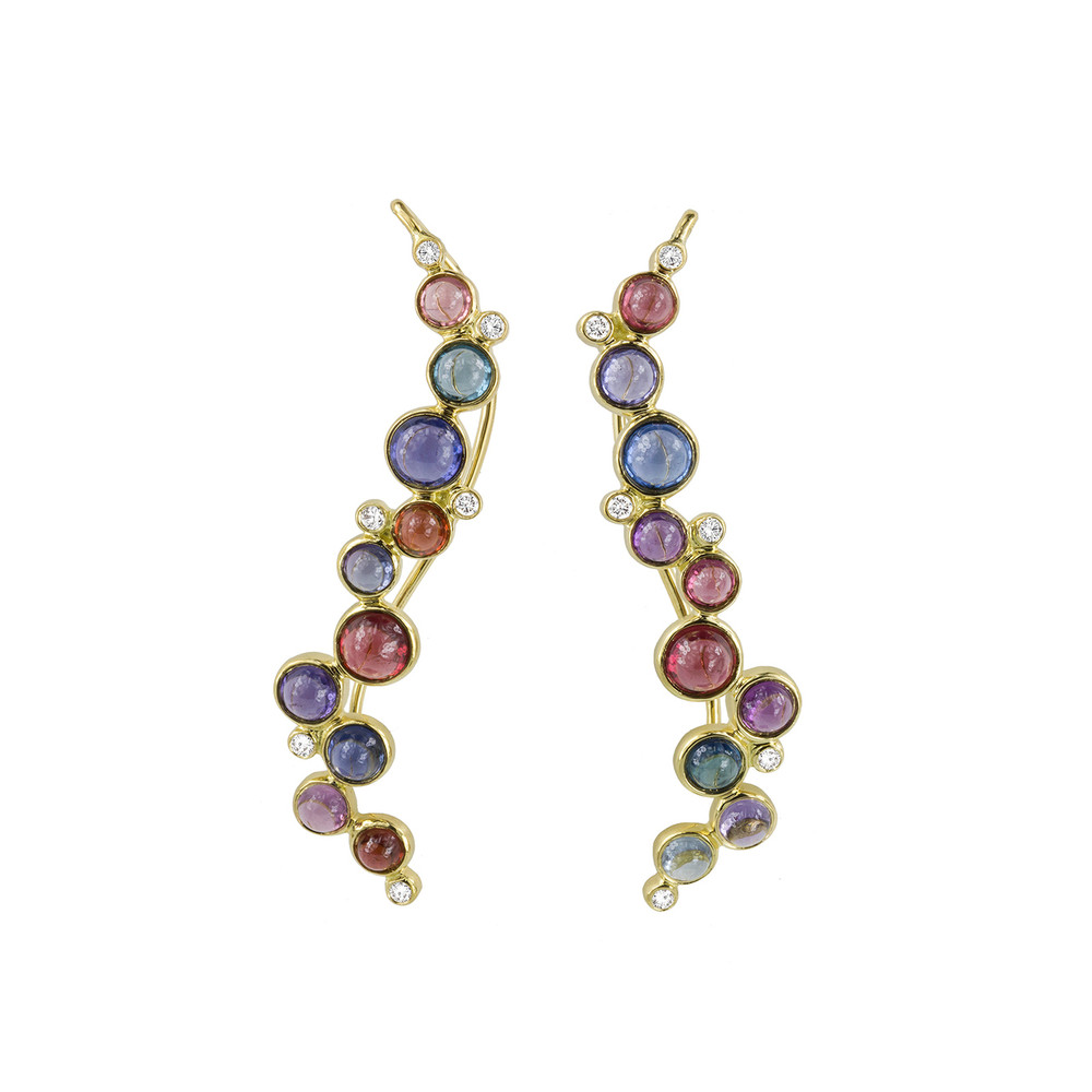 spinel, sapphire and diamond caviar earrings