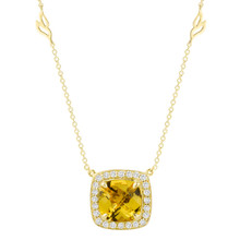 Carey Yellow Beryl Cushion Pendant