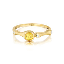 Yellow Sapphire and Diamond Trio Stack Ring