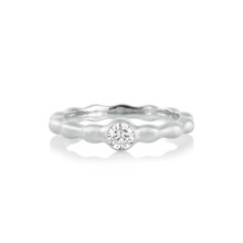 Pebbles Single Burnished Diamond Band in White Gold