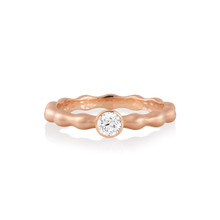 Jumbo Rose Gold Solitaire Diamond Pebbles Ring