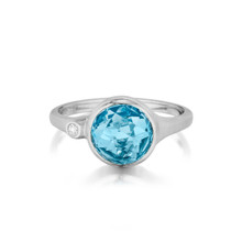 Blue Topaz and Diamond Accent Stack Ring in White Gold