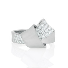 Jumbo Diamond Pave Knot Ring in White Gold