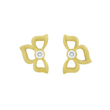 Diamond Florette Earrings in Yellow Gold
