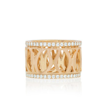 Athena Diamond Trim Spinning Ring in Rose Gold