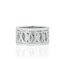 Diamond Pave Trim Spinning Athena Ring in White Gold