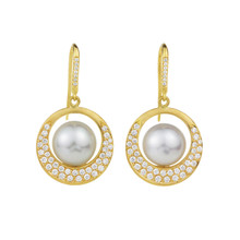 Interlinks White Pearl Earrings