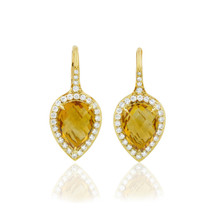 Carey Orange Citrine Pear Earrings