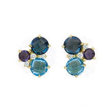 Cluster Blue Topaz Earrings