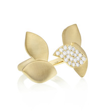 Lotus One Leaf Pave Diamond Between the Finger Ring