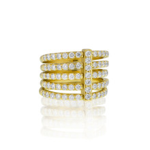 Moderne Pave Diamond Penta Ring