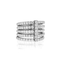 Moderne Pave Diamond Penta Ring in White Gold
