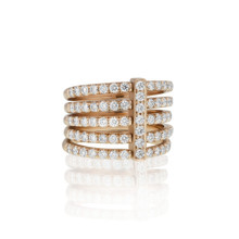 Moderne Pave Diamond Penta Ring in Rose Gold