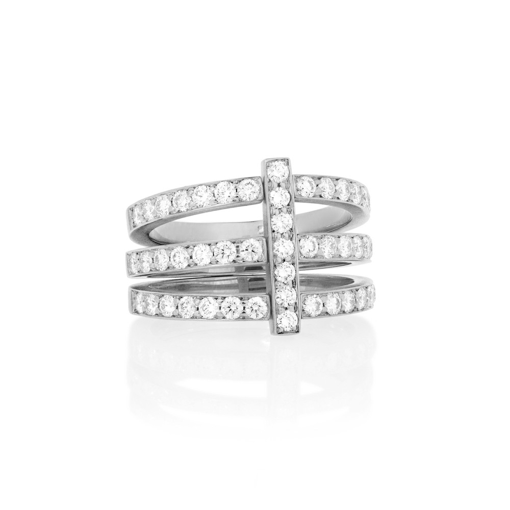 Carelle 18k Moderne 5-Stack Ring with Pave Diamonds, Size 6.5