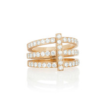 Moderne Trio Pave Ring in Rose Gold