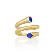 Whirl Sapphire Spiral Ring